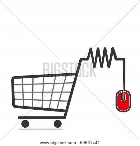 shopping trolley icon vector