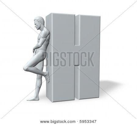 Man Leans On H