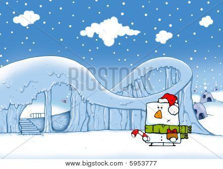 Snowman near ice attraction