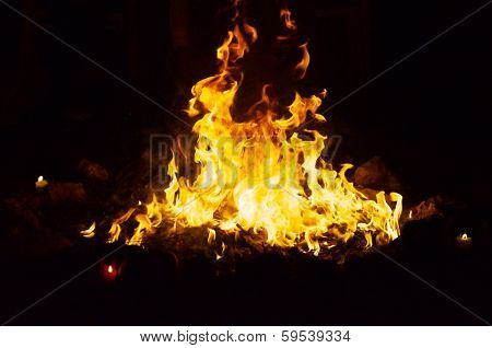 Fire At Night In Stone Ring