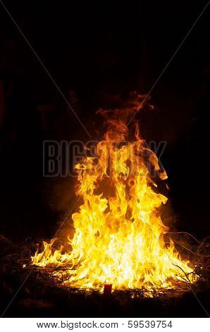 Large Ceremonial Fire At Night
