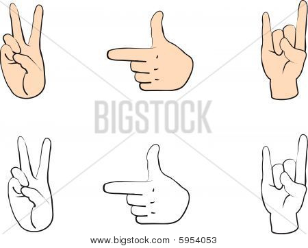 Set of people hands with gestures