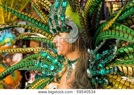 Sesimbra, Portugal - February 12, 2013: Image of a Passista Samba Dancer. The Passista is the sexiest character in the Brazilian Carnival parade. Feb/12/2013 in Sesimbra, Portugal