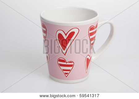 White And Pink Cup With Red Heart