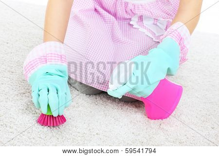 A picture of a woman cleaning stains on a carpet