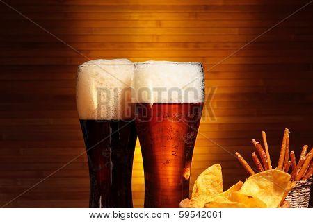 Dark and light beer