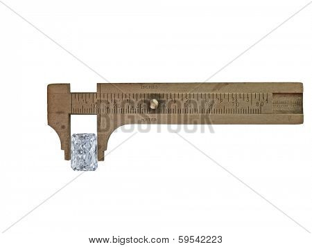 diamond in vintage heavy patina brass caliper over white, clipping path
