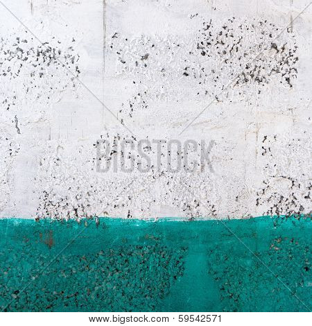 Green and white painted wall texture