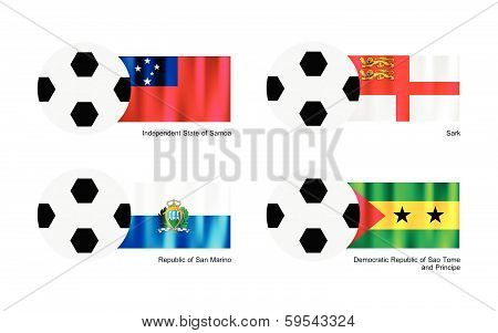 Football With Samoa, Sark, San Marino And Sao Tome Flag