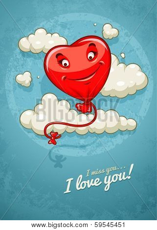 Red heart baloon flying among clouds retro card. Eps10 vector illustration on grunge retro background