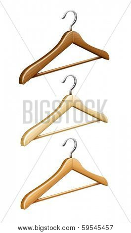 Set of wooden coat hanger for wardrobe clothes. Eps10 vector illustration. Isolated on white background