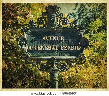 Vintage Parisian signboard. France