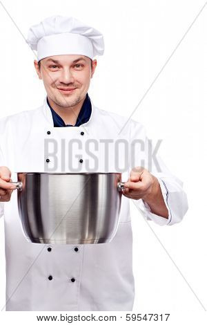 smiling chief holding metal pot in his hands isolated over white