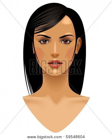Vector isolated image of full face of the girl with long straight black hair against a white background