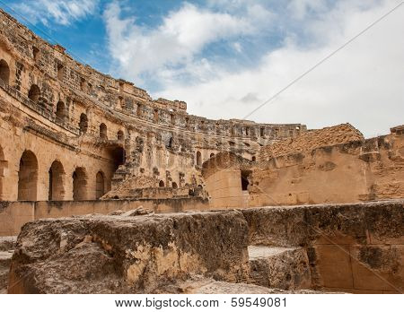 Detail of ancient Roman amphitheater in El-Jem