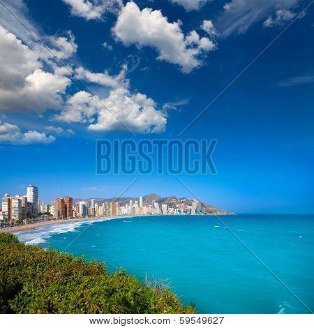 Benidorm Alicante beach buildings and Mediterranean sea of Spain