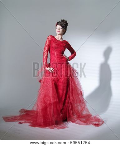 Portrait of a beauty brunette in red dress