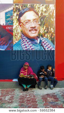 Family Visiting Kolkata Book Fair - 2014