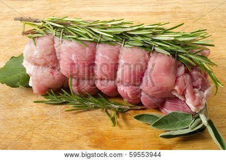 raw veal rolled up