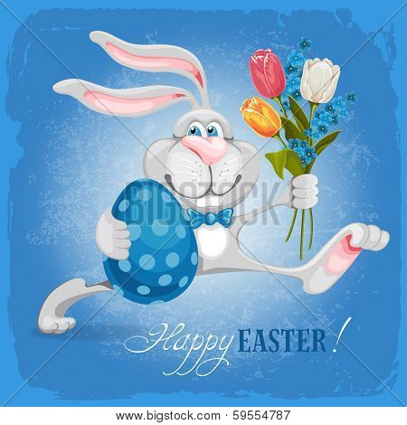Cartoon bunny holding Easter egg and spring flowers and wishes you a Happy Easter