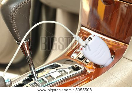 Usb Adapter Converter Plug On A Car