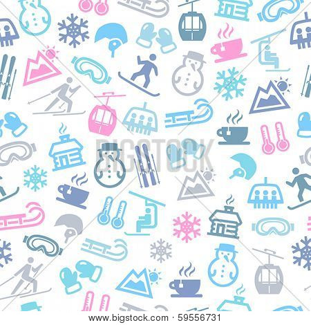 Seamless Pattern With Icons Representing Winter And Winter Sports.