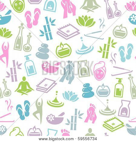 Seamless Pattern With Icons Representing Relaxation and Wellness