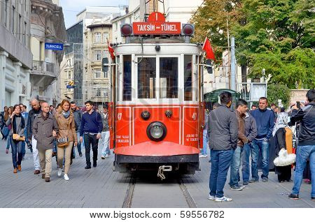 Old-fashioned red tram