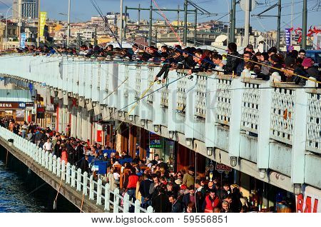 Fishermen on Galata bridge of Istambul