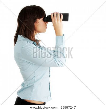 Young caucasian business woman looking throught binocular isolated on white background