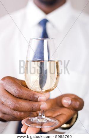 Businessman with wine