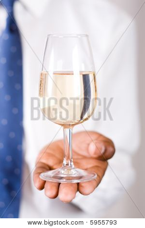 Businessman with wine
