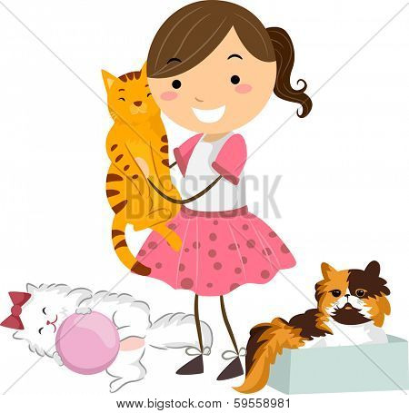 Illustration of a Little Girl Surrounded by Cute and Cuddly Cats