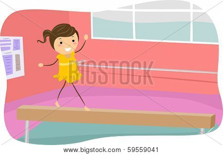 Illustration of a Girl Walking on the Balance Beam