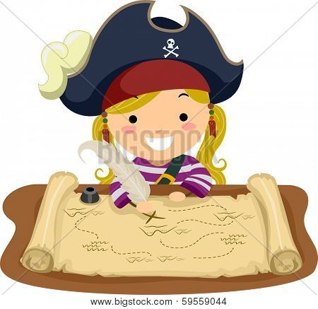 Illustration of a Little Girl Dressed in a Pirate Costume Looking at a Map