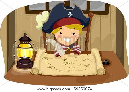 Illustration of a Little Boy Dressed in a Pirate Costume Looking at a Map