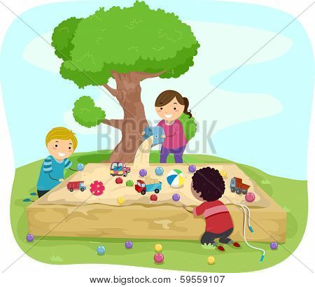 Illustration of Kids Playing Around the Sandbox