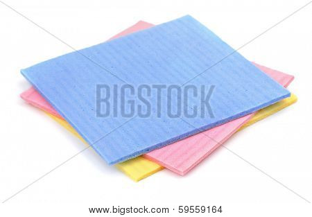 Cellulose sponge cloth isolated on white