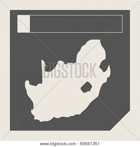 South Africa map button in responsive flat web design map button isolated with clipping path.