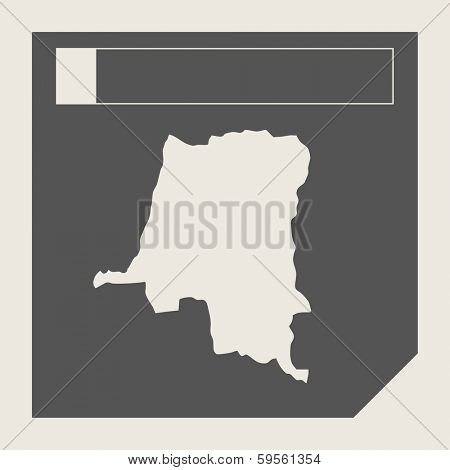 Zaire map button in responsive flat web design map button isolated with clipping path.