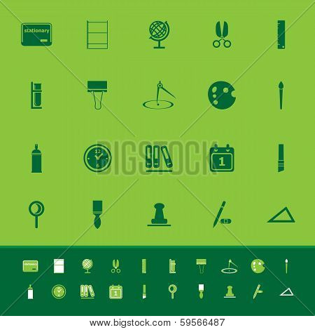 General Stationary Color Icons On Green Background