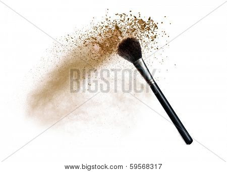 Isolated make-up powder with brush on white background