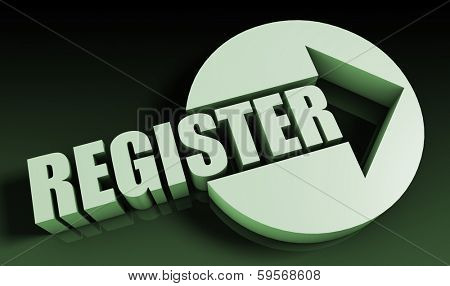 Register Concept With an Arrow Going Upwards 3D