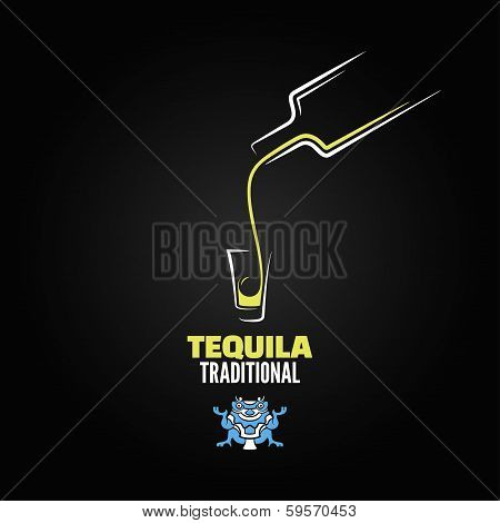 tequila shot bottle glass menu design background