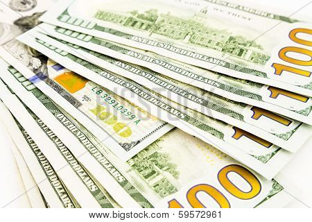 New Edition 100 Dollar Banknotes, Currency For Invesment And Business Concept