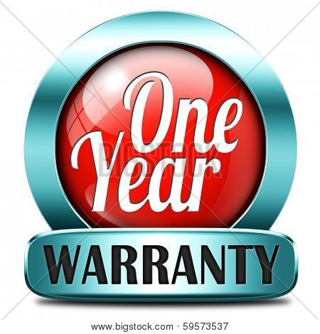 1 year warranty top quality product one years assurance and replacement best top quality guarantee guaranteed commitment red button or sign