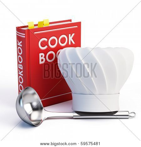 Cookbook, Chef Hat and soup ladle on white background