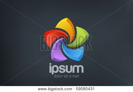 Five point Star abstract colorful vector logo design template. Social symbol.