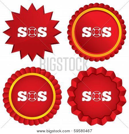 SOS sign icon. Lifebuoy symbol.