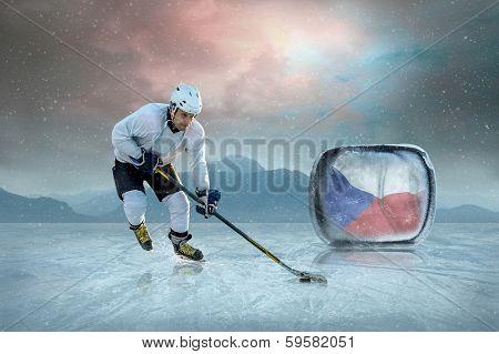 Ice hockey player on the ice. Czech national team.